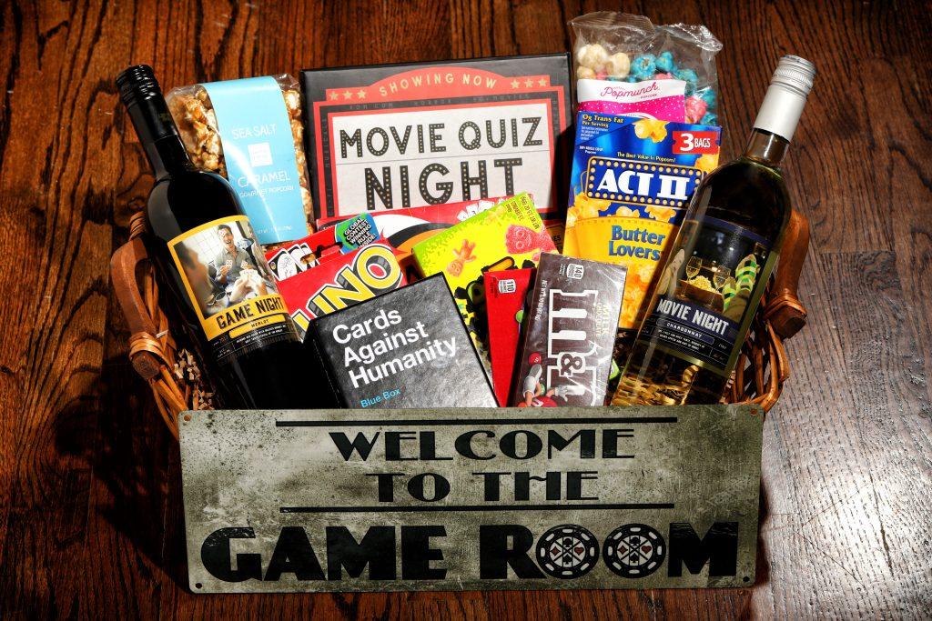Game Night and Movie Night wine gift basket