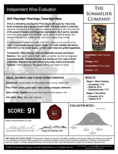 Theme Night Wines Pizza Night Pinot Grigio Evaluation Reviewed by The Sommelier Company